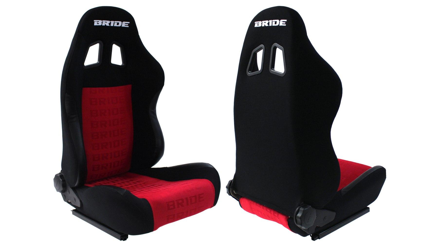 Fotel sportowy RAPID Welur Bride Red/Black - GRUBYGARAGE - Sklep Tuningowy